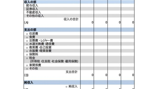 【家計簿】PL(損益決算書)とB/S(賃借対照表)のサンプル